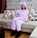 雨莲露暖融卡通美眉兔披风紫色大号